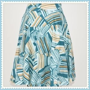 Anthropologie Odille Abstract Blue Teal Skirt 6